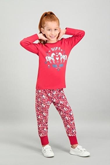 U.S. Polo Assn. U.S. Polo Assn Lisanslı Kırmızı Kız Çocuk Pijama Takımı Kırmızı